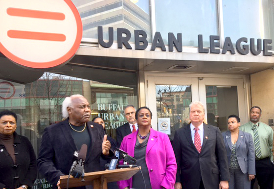 Urban League CEO Brenda McDuffie (center) isjoined byboard member James Pitts (left) and the league's Legal Counsel Kenneth Africano (to her right).