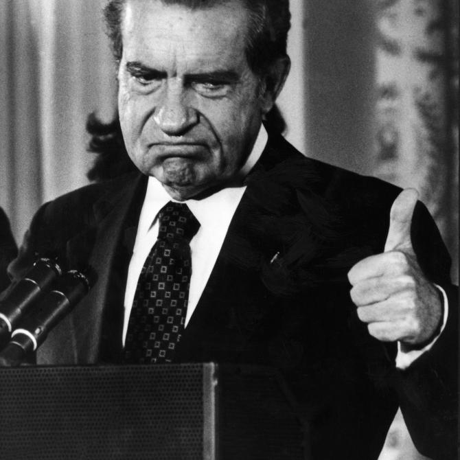 "Former President Richard Nixon, also known as ""Tricky Dick."""