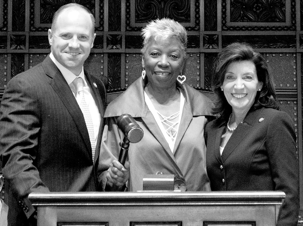HONORED: Pictured from left, Senator Tim Kennedy, Barbara D. Glover, and Lieutenant Governor Kathy Hochul.