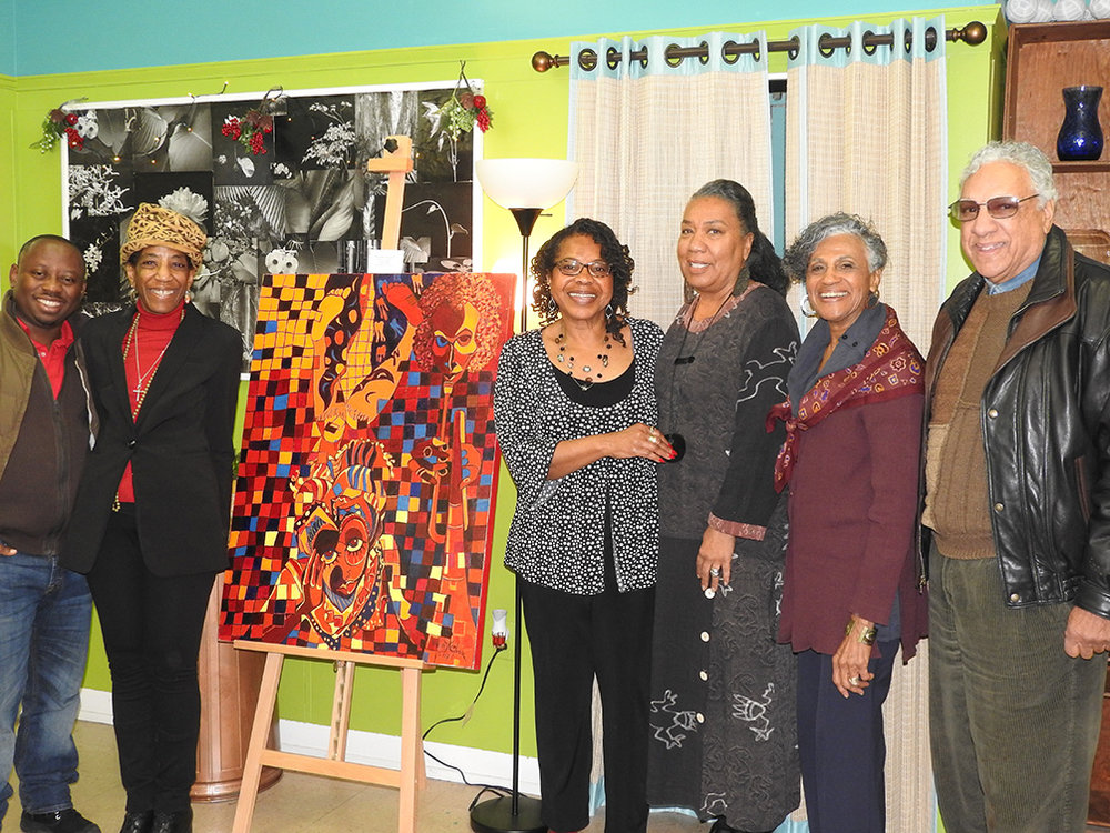 ART FOR ARTISTS: Pictured (L-R) at the recent Holiday Art for Artists auction, Rubens Mukunzi,Jessica Thorpe, Glendora Johnson-Cooper. Dawn Martin-Berry-Walker, Betty Pitts-Foster and Jim Pappas