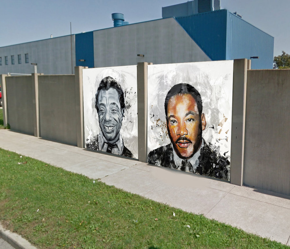 A RENDERING OF CHUCK TINGLEY'S FORTHCOMING MURAL SHOWING PORTRAITS OF JAMES BALDWIN AND MARTIN LUTHER KING, JR. IMAGE COURTESY OF THE ARTIST