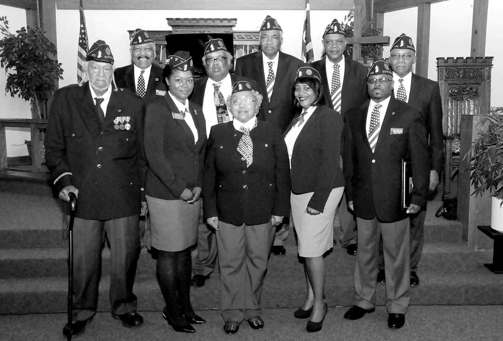 OFFICERS: Pictured 1st Row left/right; WWI Coordinator Papa Paul Woods, 3rd Vice Commander Kanasha Blue, Commander Elder Paulette Woods, Adjutant Annette Christian, Chaplain/1st Vice Commande