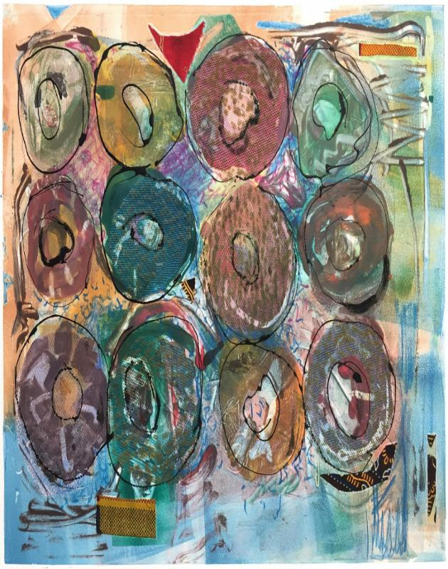 "Phyllis Thompson Memories of Making Special #7, 2015, monotype, chine-collé, collage, drawing,       13.5"" x 19"""