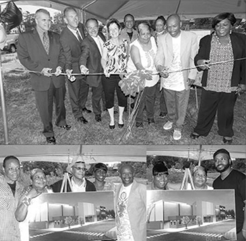 "'TO GOD BE THE GLORY!"" In top photo, Vivian Jackson (center in white top) cuts the ribbon for her new development which will feature a Prayer Room, skating rink, small diner and ice cream parlor. In photos above she poses with family and supporters. A large crowd turned out for the community event on June 5 and included a host of dignitaries: Fillmore Councilman David Franczyk, mayoral candidates Legislator Betty Jean Grant and Mark Schroeder, Rev. Cushing, and members of her Elim Christian Fellowship family.THIRD EYE PHOTOS"