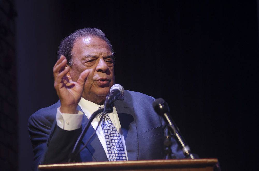 Former UN Ambassador Andrew Young Makes a Point To Students During His Address
