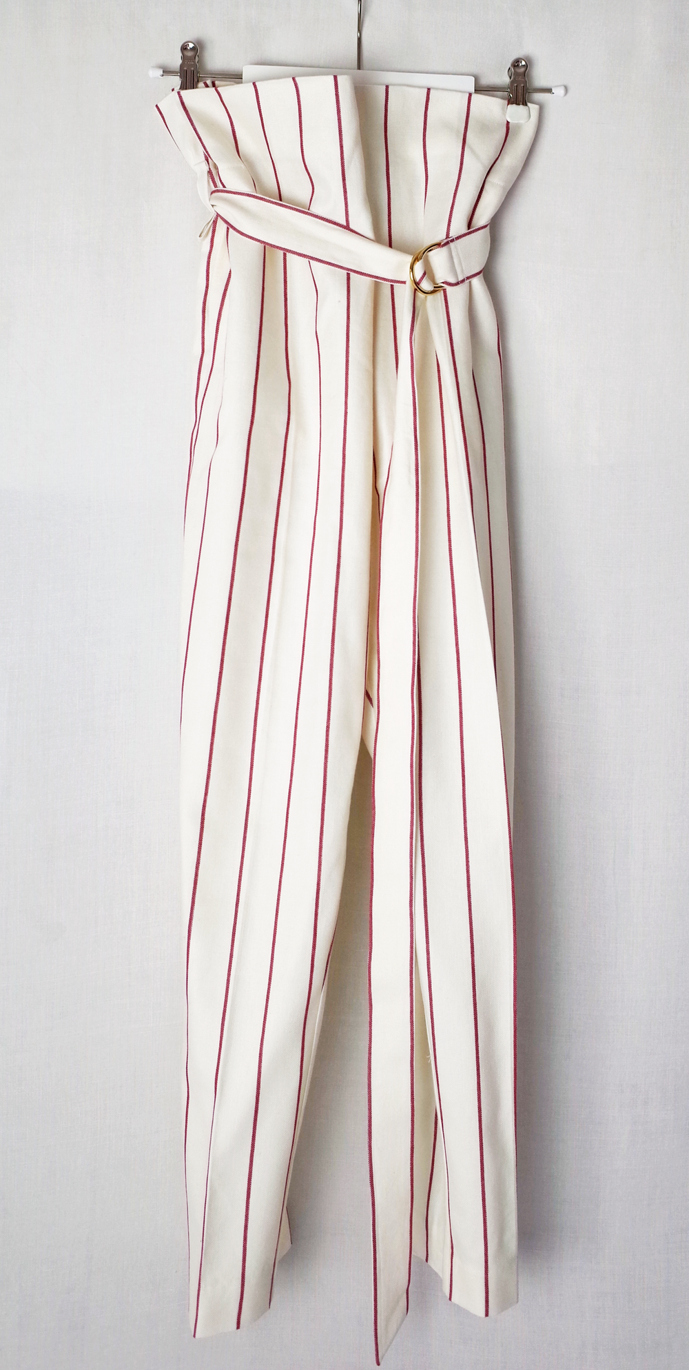light beige with red stripes//100 % linen