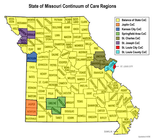 State Continuum Institute For Community Alliances - State of missouri map