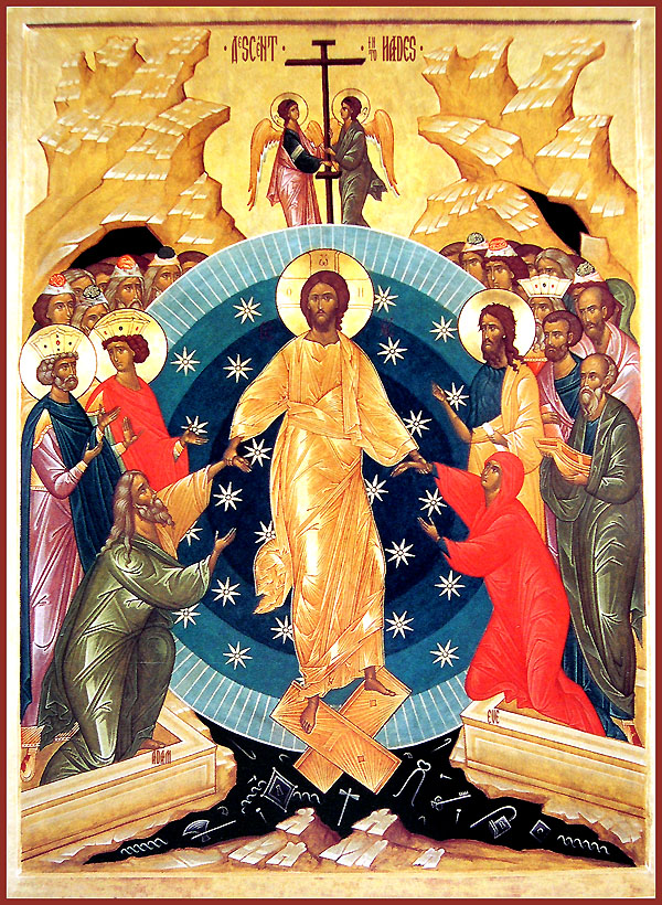 Consider this Orthodox icon of the Resurrection.