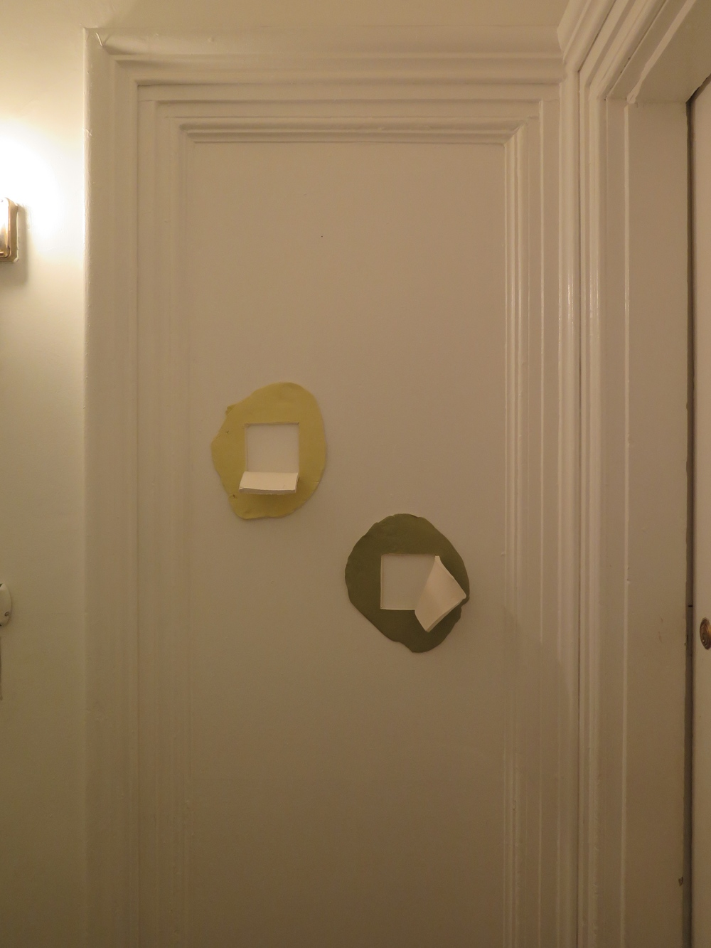 """Memory of 171 Waverly Bathroom: Pantone #'s 461C and 5773C (diptych)"" by Beatrice Wolert for apARTment #2"