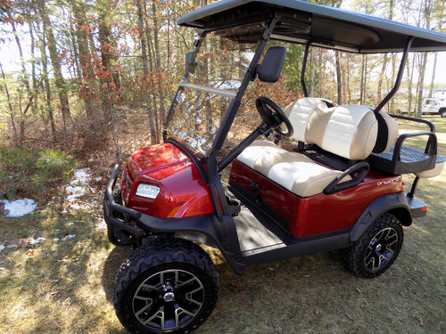 New 2017 Electric Club Car Lifted Metallic Candy Apple Red 4