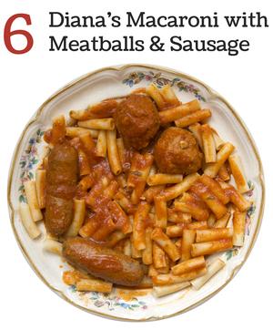Diana's Macaroni with Meatballs & Sausage