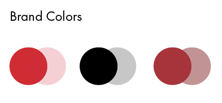 On the left, colors used for business to consumer pieces. On the right, colors used for business to business pieces. Pure black and different builds of black were used in both.