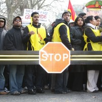 Tamil separatist supporters demonstrating in London. The 'stop' barrier was pure chance.