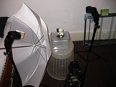 Lighting setup, ItL w/ umbrella