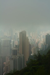 Smog in Hong Kong meant little contrast and muted colours