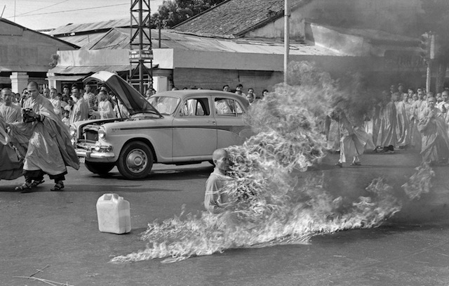 In the first of a series of fiery suicides by Buddhist monks, Thich Quang Duc burns himself to death on a Saigon street to protest persecution of Buddhists by the South Vietnamese government, June 11, 1963. (AP Photo/Malcolm Browne)
