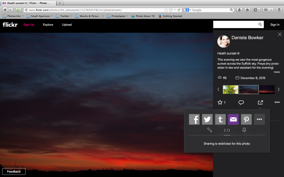 Flickr embed screen shot
