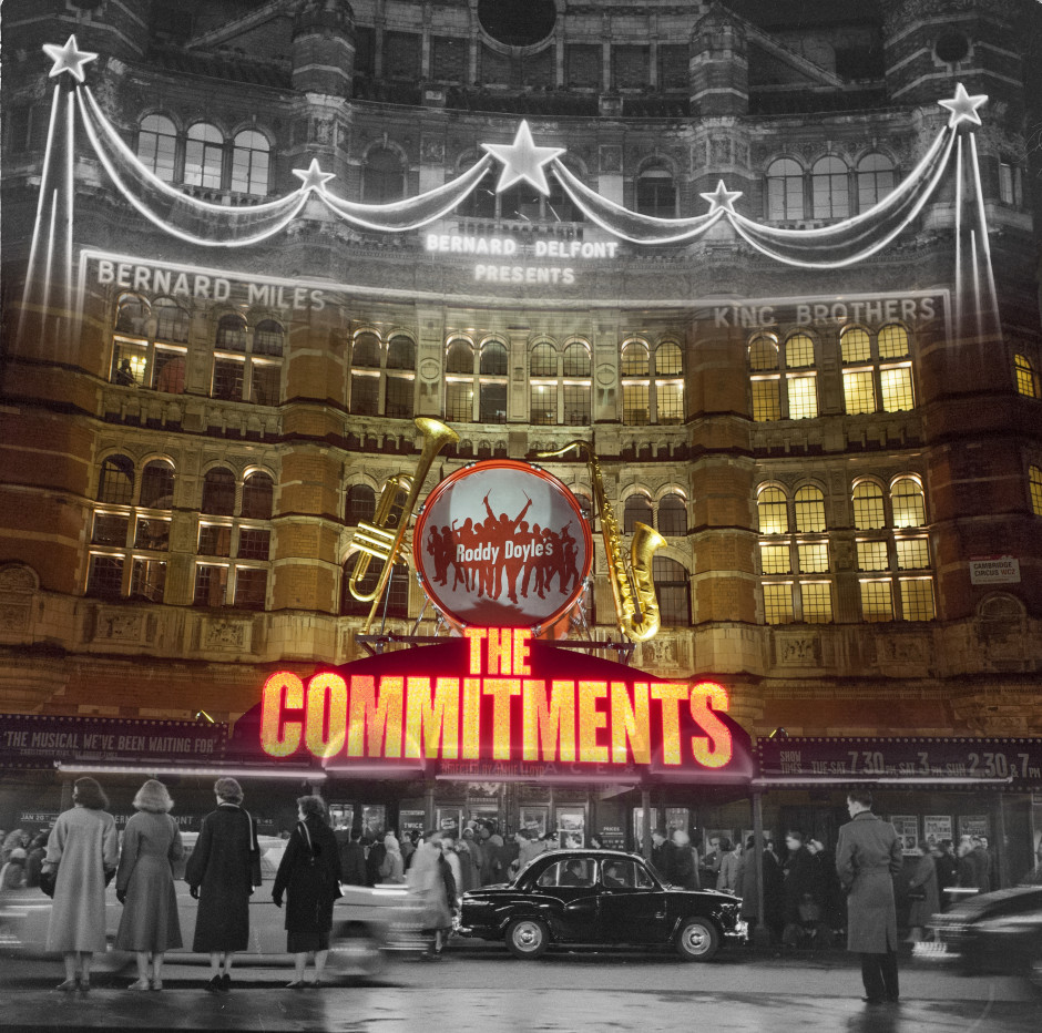 Palace Theatre, 1958, Bob Collins. A night shot outside the Palace Theatre on Shaftesbury Avenue, before an evening's performance.
