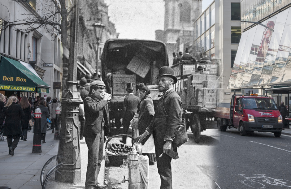 Cheapside, 1893, Paul Martin. A street seller of sherbert and water is photographed  on Cheapside completely unawares of the camera.  Paul Martin was the first photographer to roam around the streets of London with a disguised camera taking  candid pictures such as this solely for the purpose of showing 'life as it is'.