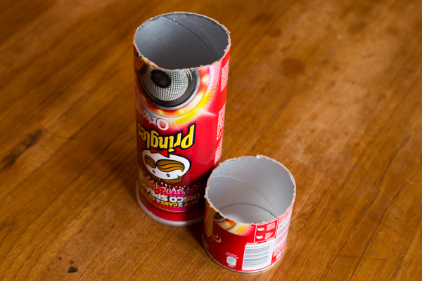 One Pringles can, two pieces