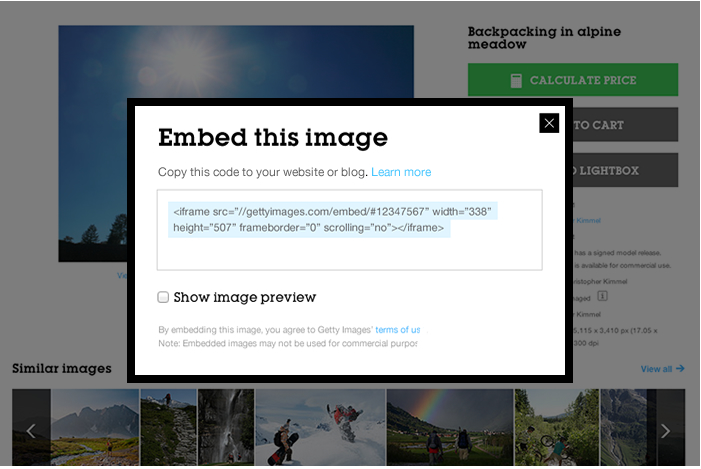 Getty's new embed feature
