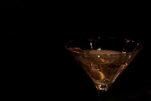 Martini, cocktail, drink, alcohol, sophisticated, James Bond, shaken-not-stirred, party, olive, gin, Vermouth, low-key, dark