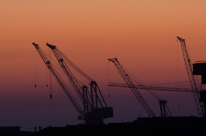 Port cranes at sunset, Livorno