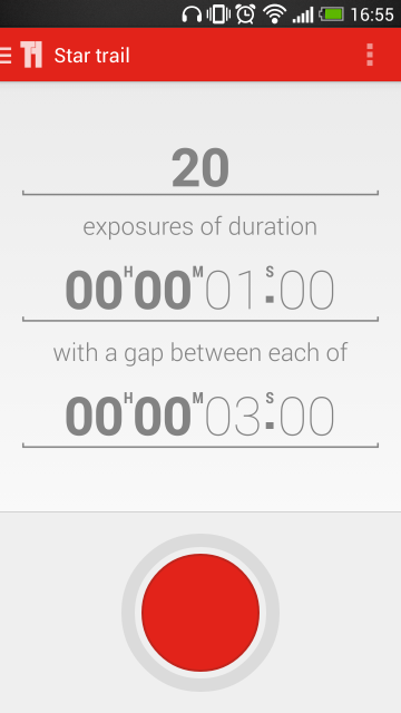 Choose your exposure time, number of exposures, and the interval between them