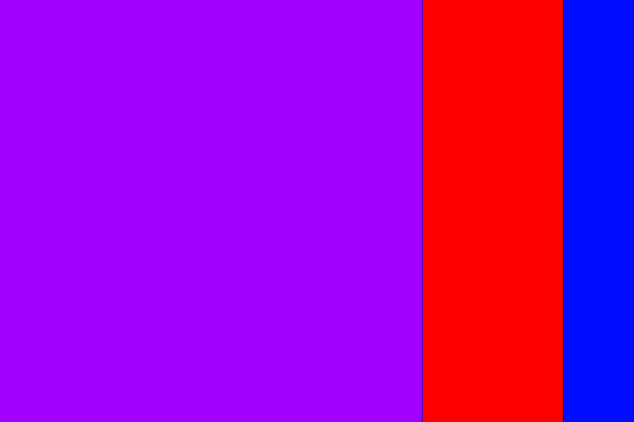 The entire rectangle is 3:2 (900 by 600); the red zone represents 4:3 (800 by 600); and the purple zone is 1:1 (600 by 600).