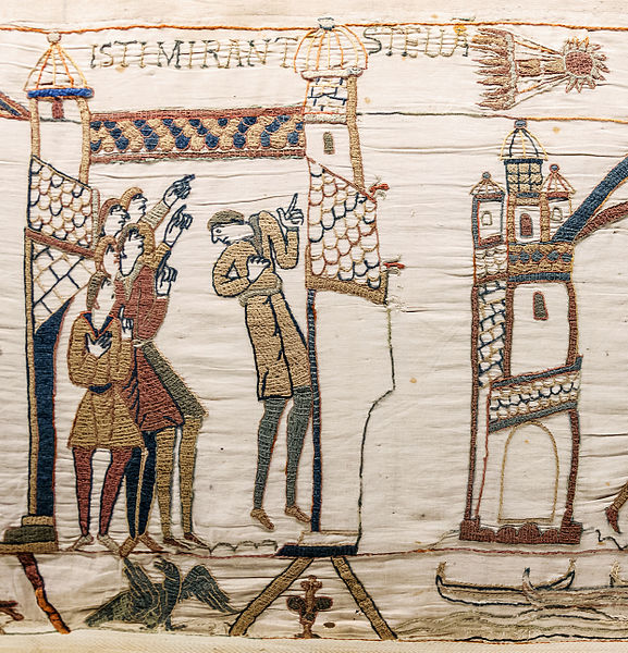 Halley's Comet blazing a trail across the Bayeux Tapestry (image courtesy of Wikimedia)