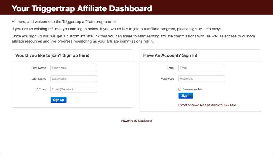 Signing up for Triggertrap's affiliate programme is remarkably easy