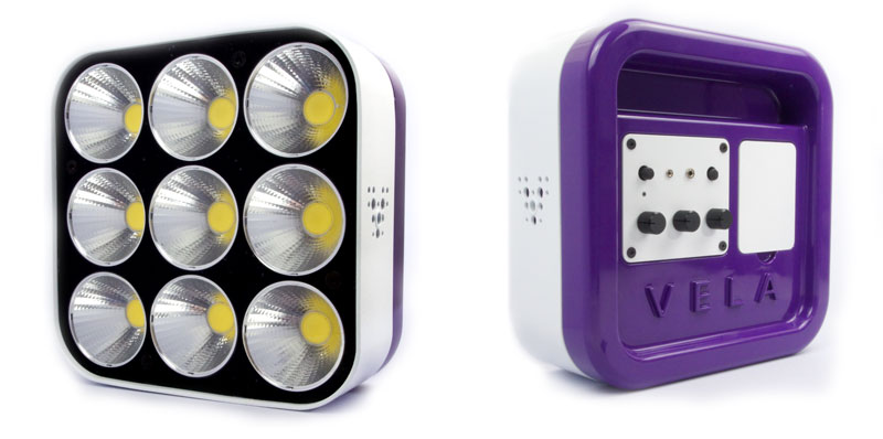 The Vela One is a sexy piece of kit. About the size of a toaster, it incorporates nine super-bright LEDs.