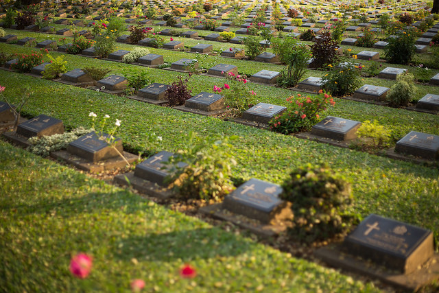 The sense of the infinite is appropriate at this Commonwealth War Grave in Thailand; but the repetition lends an important sense of calm, too.