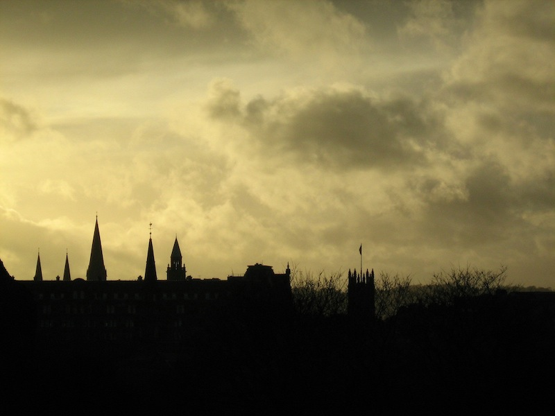 A stormy sky made a beautiful silhouette in Edinburgh