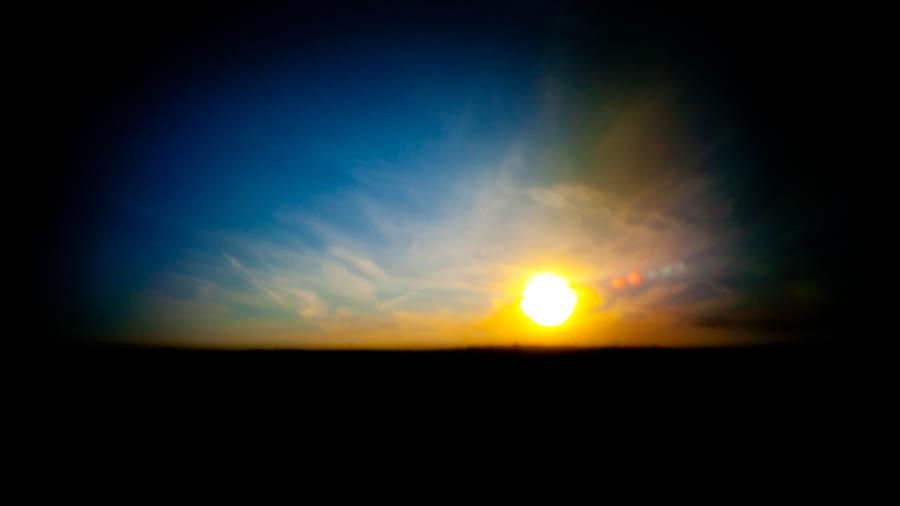 Sunset through a pinhole (photo by Haje)