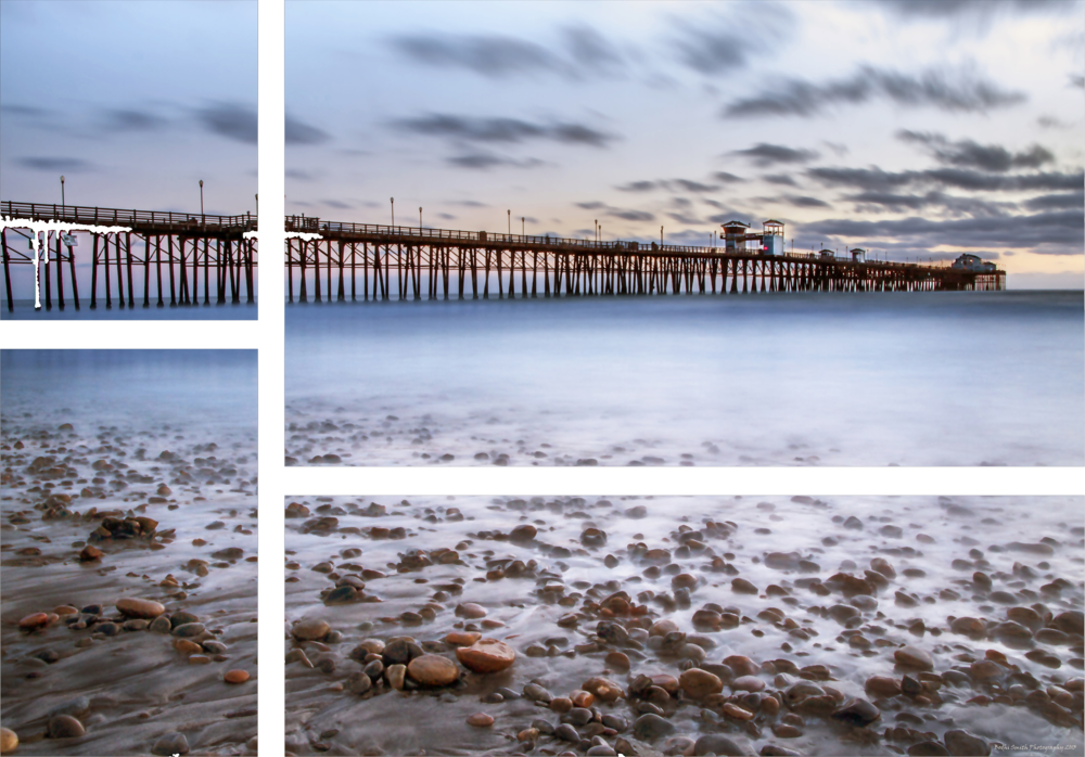 """Pier Sing"" - Four separate images, each a rectangle of different size and shape, that when put together form the entire image. All four are mounted on dock ropes and suspended between two large pieces of pier wood (4x4 each)"