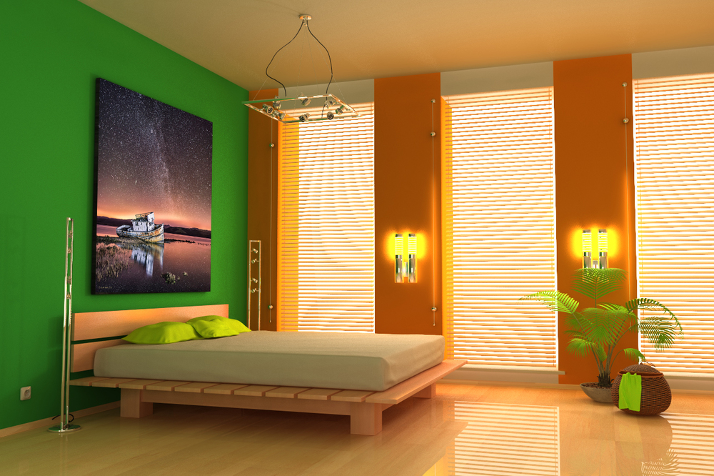 """Astral Inverness"" is simply sublime as large metal print with a euro hanging mount in a modern bedroom."