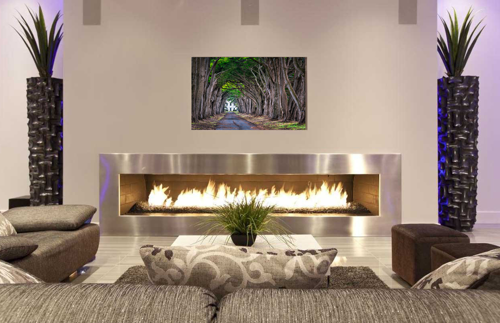 """Absolution Calling"" proudly finds an aesthetically pleasing home floating mounted above this post-modern fireplace."