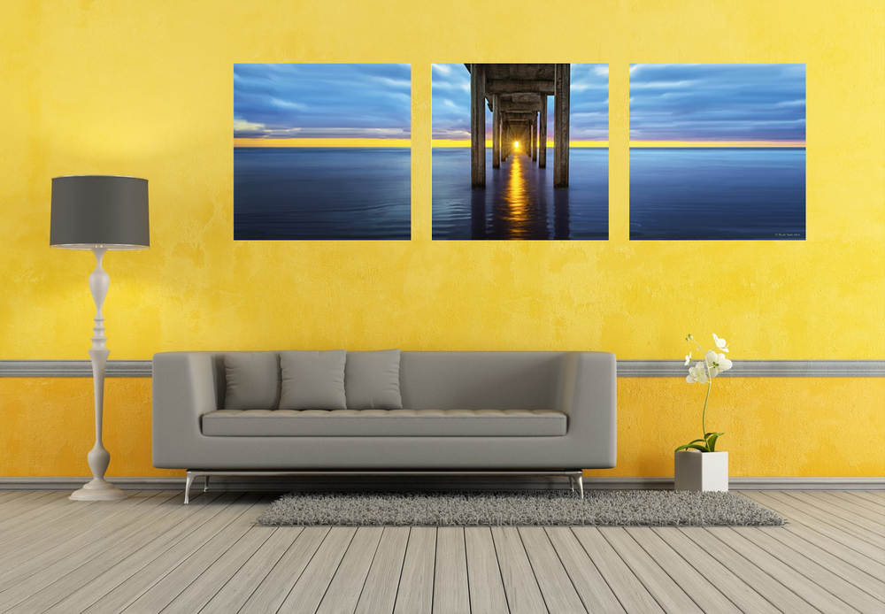 """Finale"" Triptych is unquestionably the pinnacle of perfection when fitted on this dauntless yellow wall."