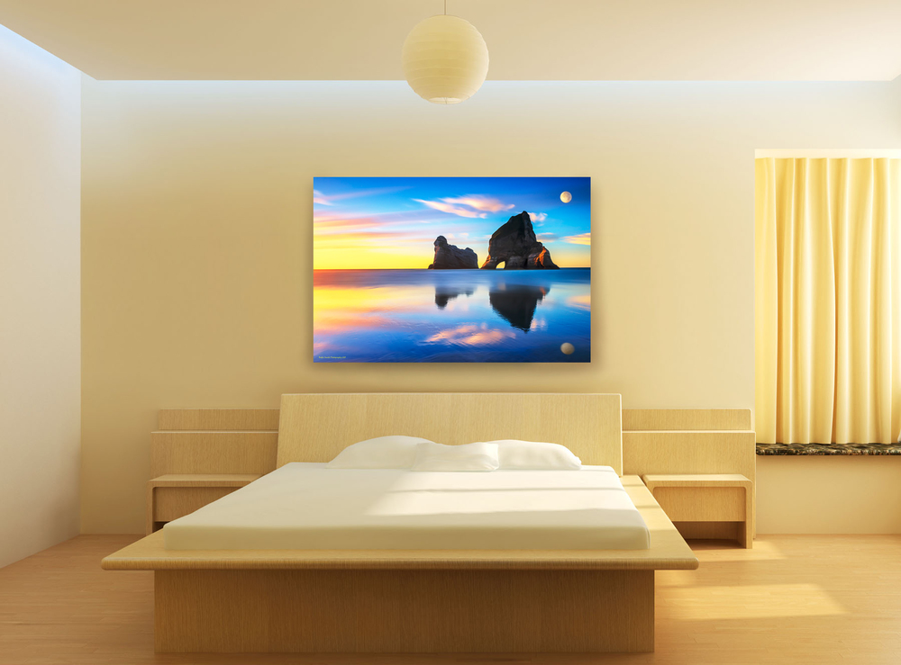 """Surrealist Dreams"" entrancingly hangs in a Japanese style bedroom creating a minimalist decor with a surrealistic impression."
