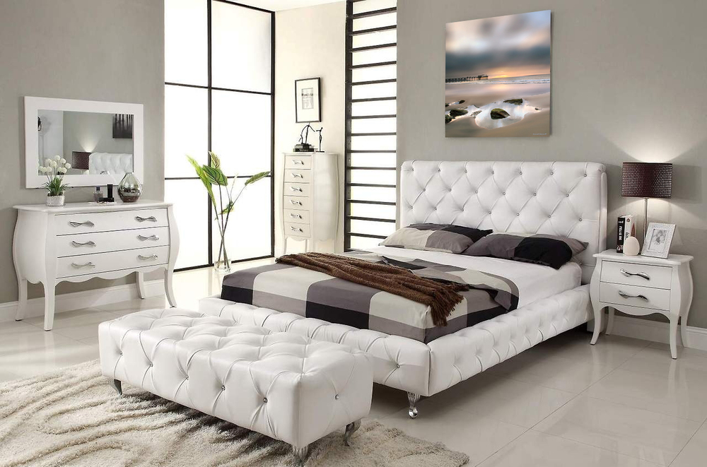 """Visage of Dali"" hangs charmingly in an elegant and simple modern white bedroom."