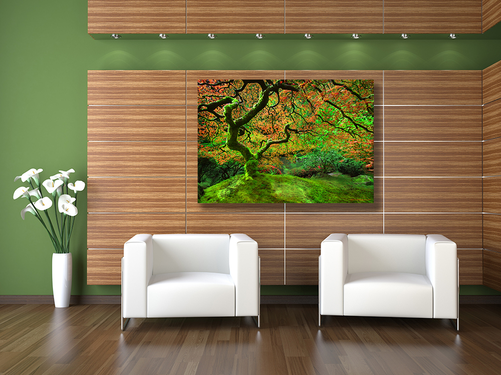 """The Tree"" brightens this hotel lobby unconditionally as a 40x60 metal print with a floating hanger."