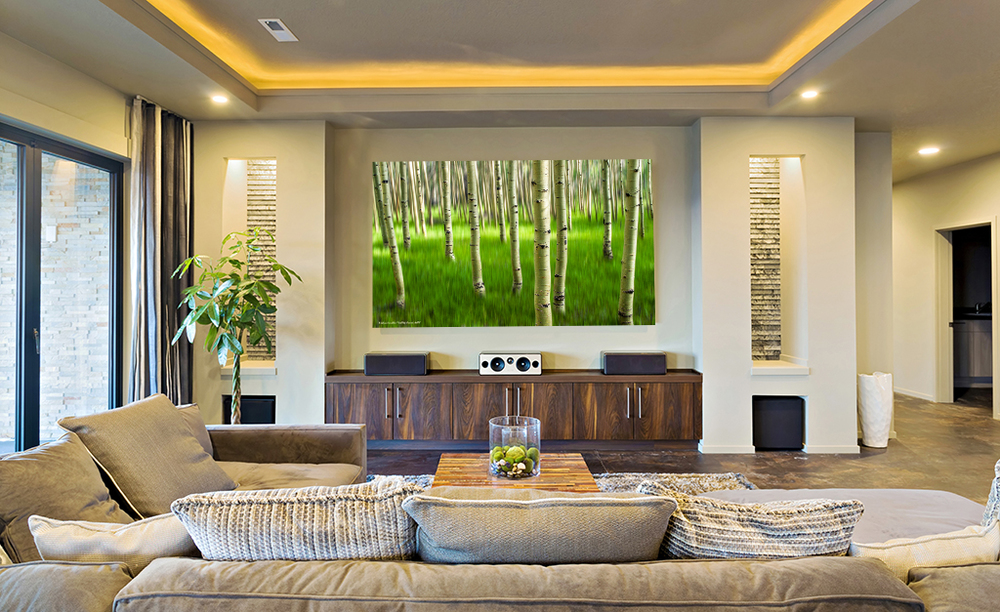 """Moody Three"" energizes this family room as a very large 40x60 metal print with a floating hanger."