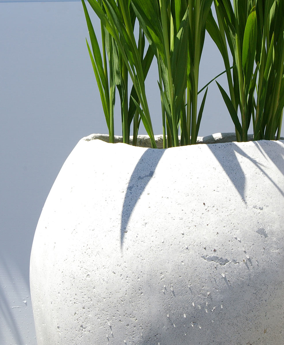white concrete pot