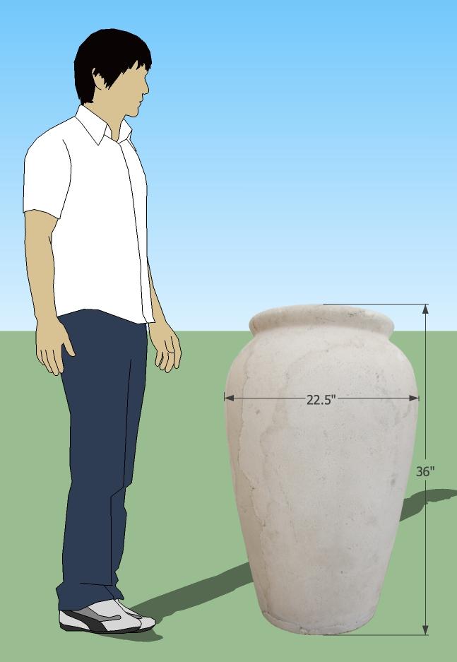 hand cast medium concrete pot