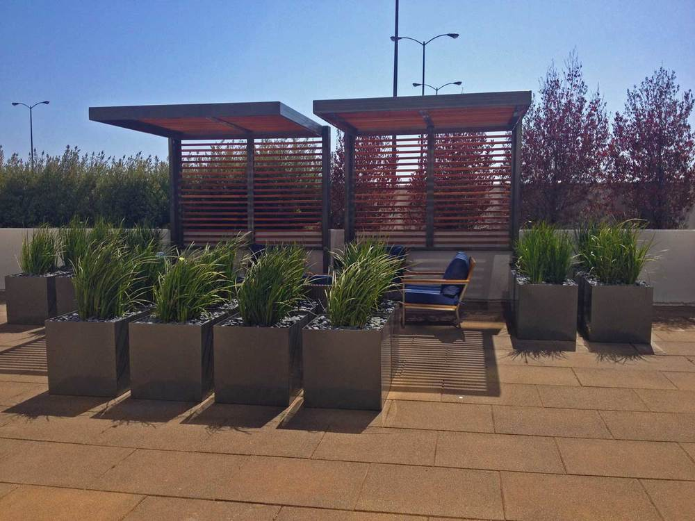modern commercial grade aluminum planters for Vancouver Island