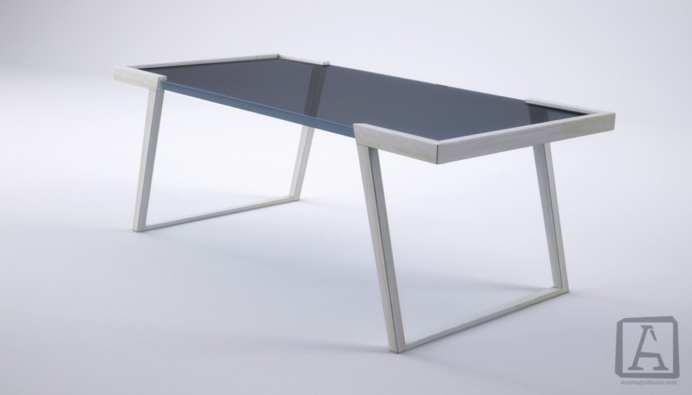 ductal and glass table design | site furnishings