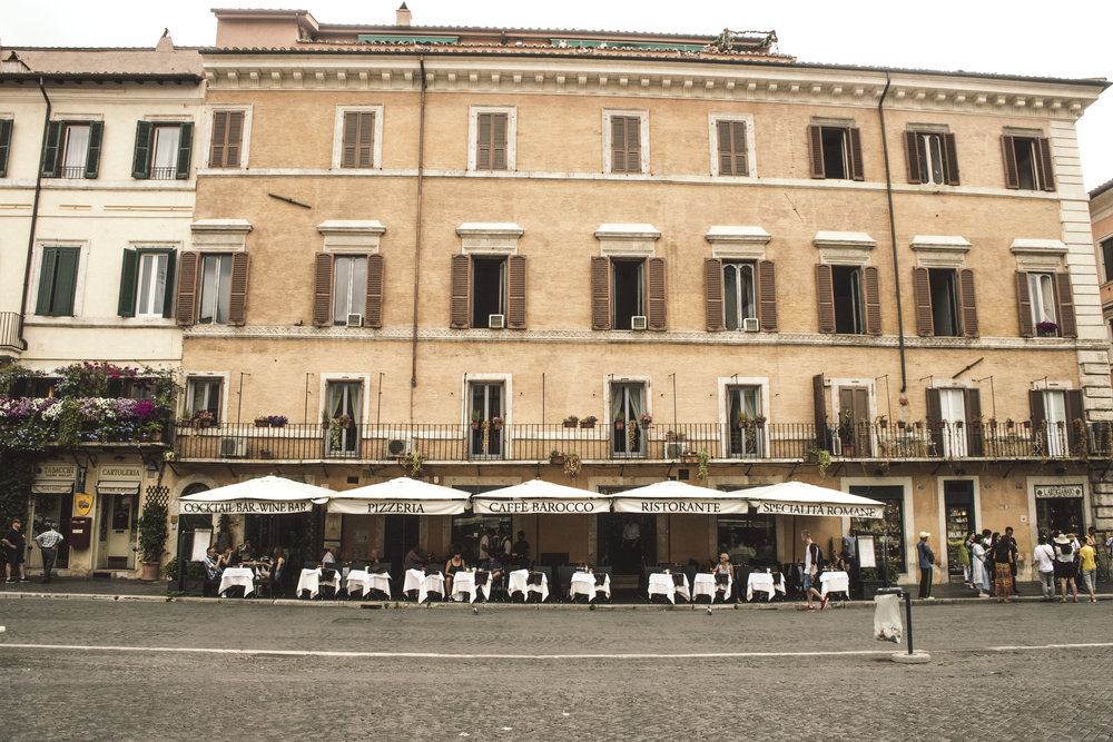 Piazza Navona at lunch time in Rome, Italy