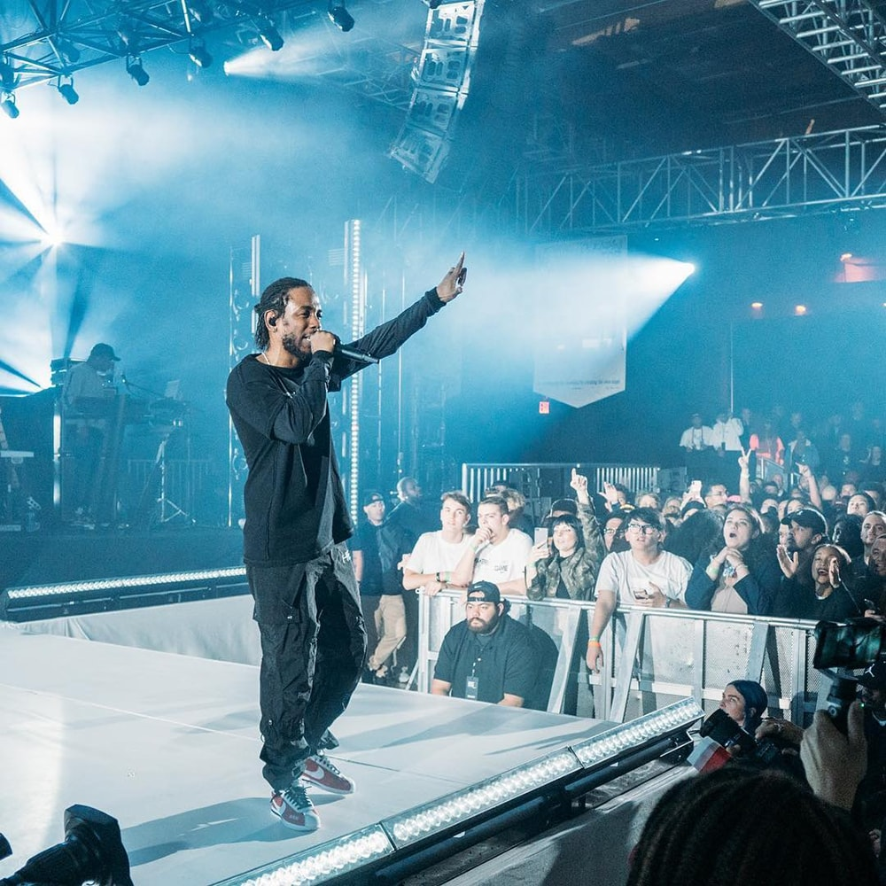 Kendrick Lamar at NBA AllStar Weekend Event With Nike Custom Truss Structure Set Flat Walls Platforms Barricades