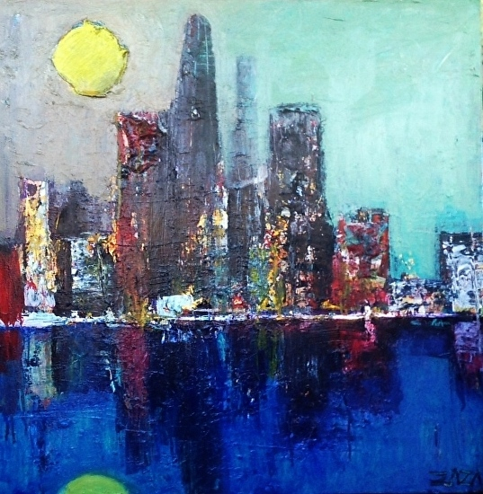 City Lights 36x36 STRETCHED CANVAS